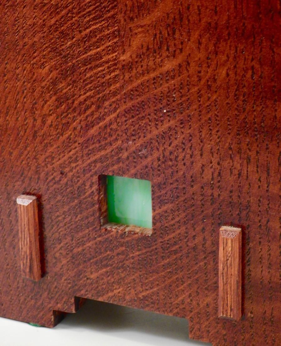 Art Craft Style Oak Desk Clock Copper Fittings Slate - 3