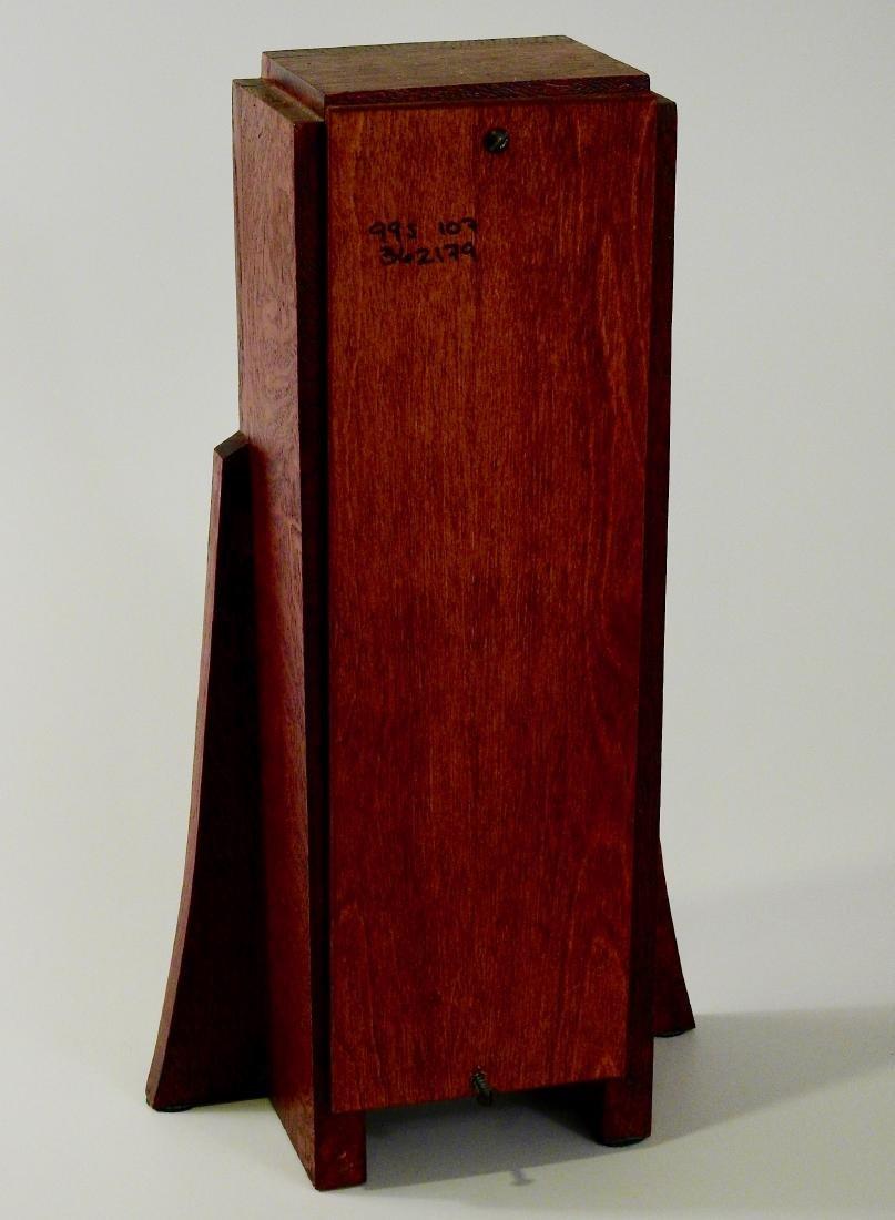 Art Craft Style Oak Desk Clock Copper Fittings Slate - 4