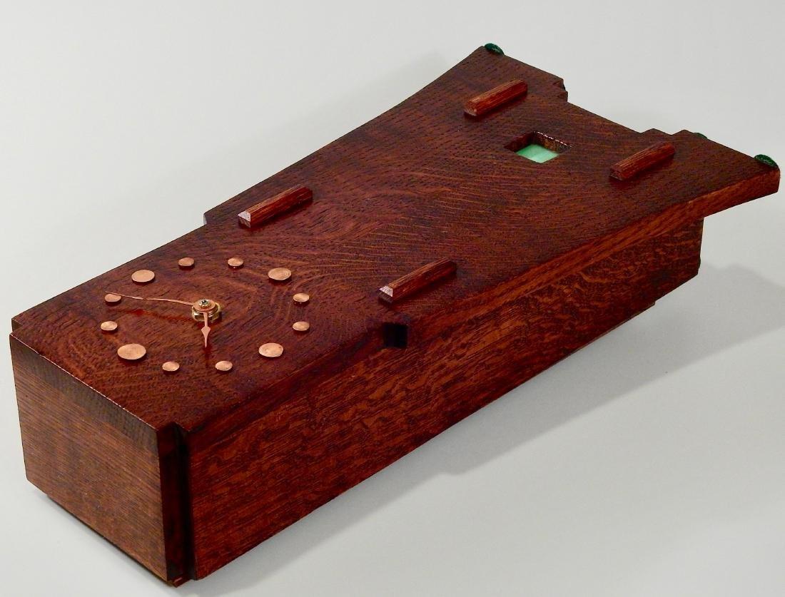 Art Craft Style Oak Desk Clock Copper Fittings Slate - 5