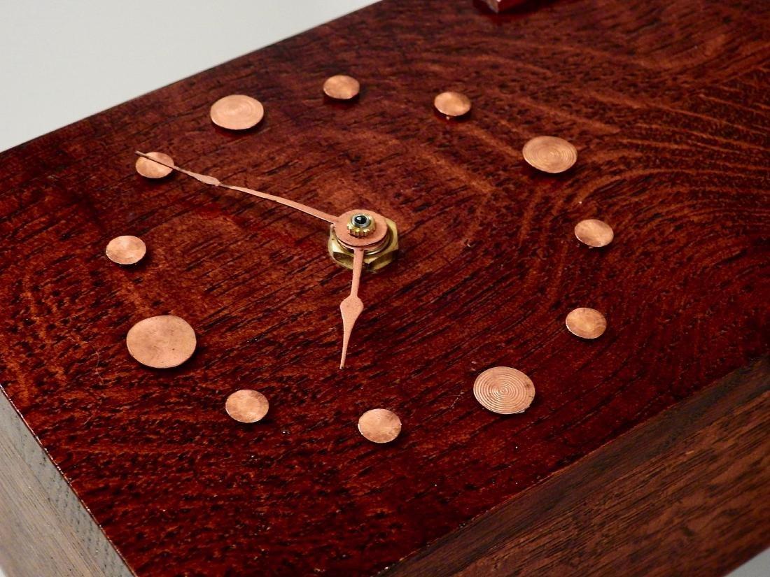 Art Craft Style Oak Desk Clock Copper Fittings Slate - 6