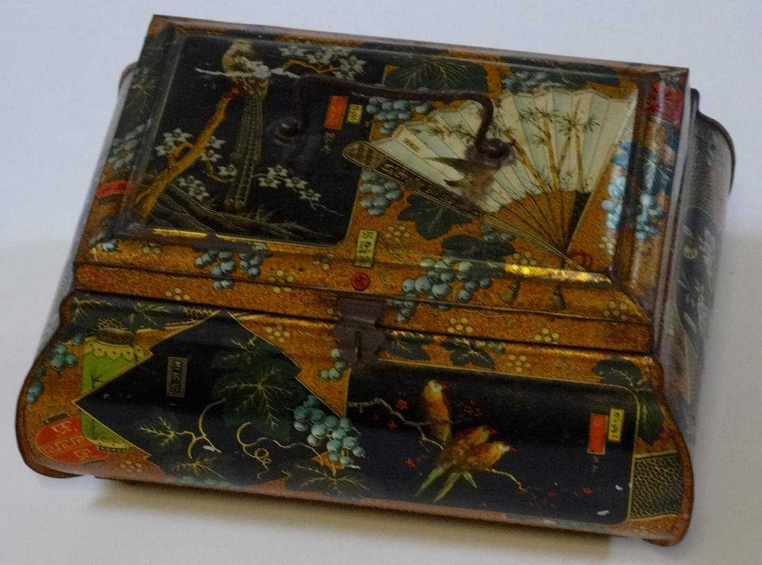 Antique Victorian Chinese Export Tea Tin Litho Large - 2
