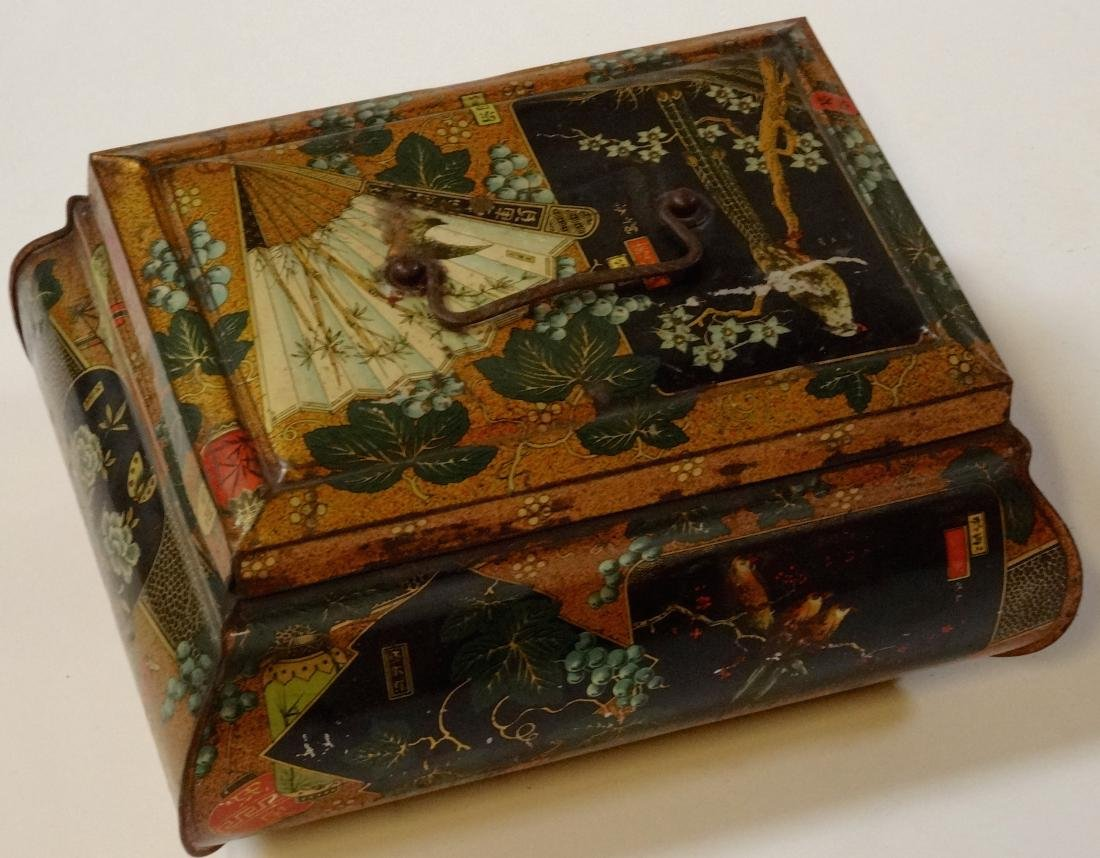 Antique Victorian Chinese Export Tea Tin Litho Large - 6