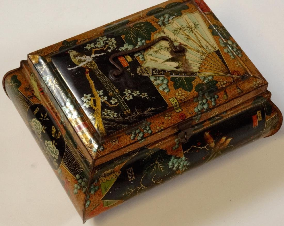 Antique Victorian Chinese Export Tea Tin Litho Large - 7