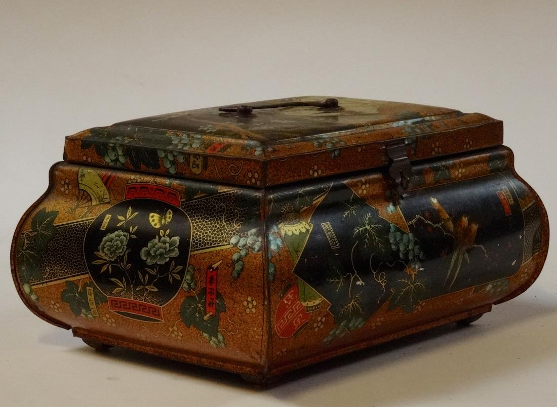 Antique Victorian Chinese Export Tea Tin Litho Large - 8