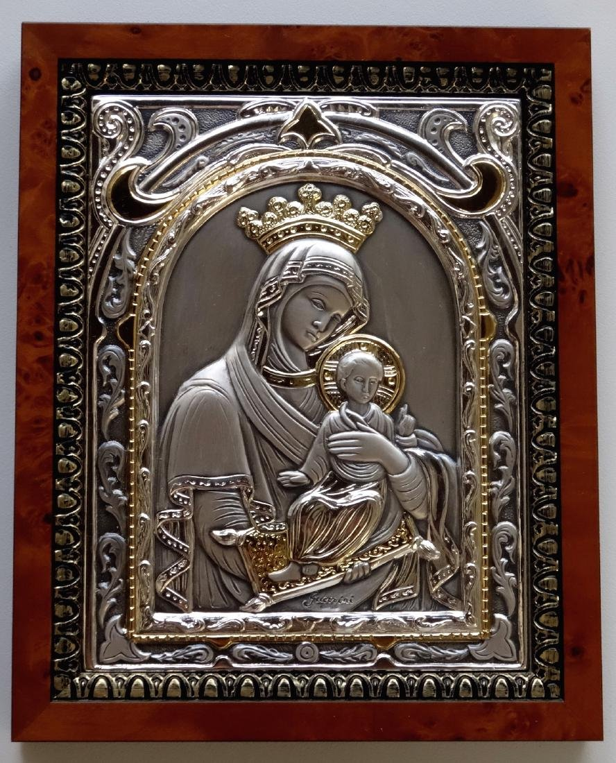 Italian Sterling Silver Icon Parcel Gilded Madonna