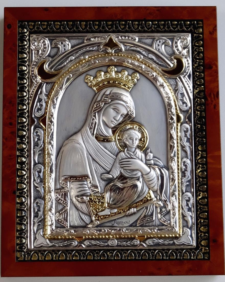 Italian Sterling Silver Icon Parcel Gilded Madonna - 2