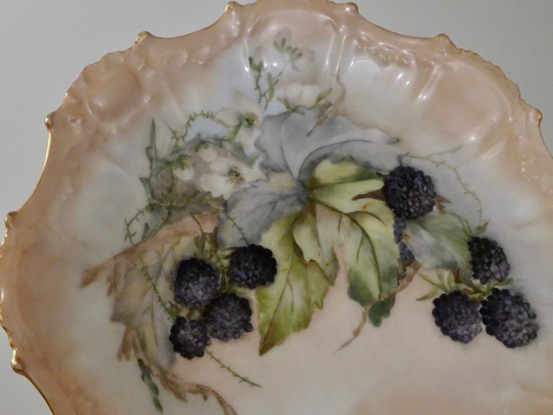 French Limoges Porcelain Blackberry Plate c1910 Hand - 2