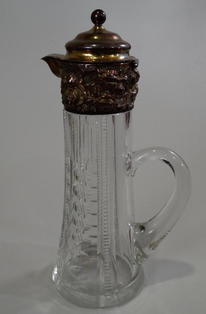 Antique Crystal Jug Pitcher Art Nouveau Irises Sterling