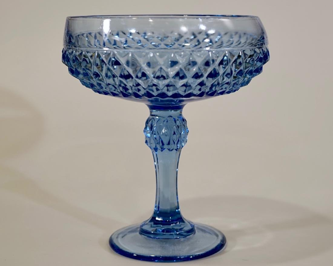 Vintage Blue Diamond Point Pattern Compote Indiana