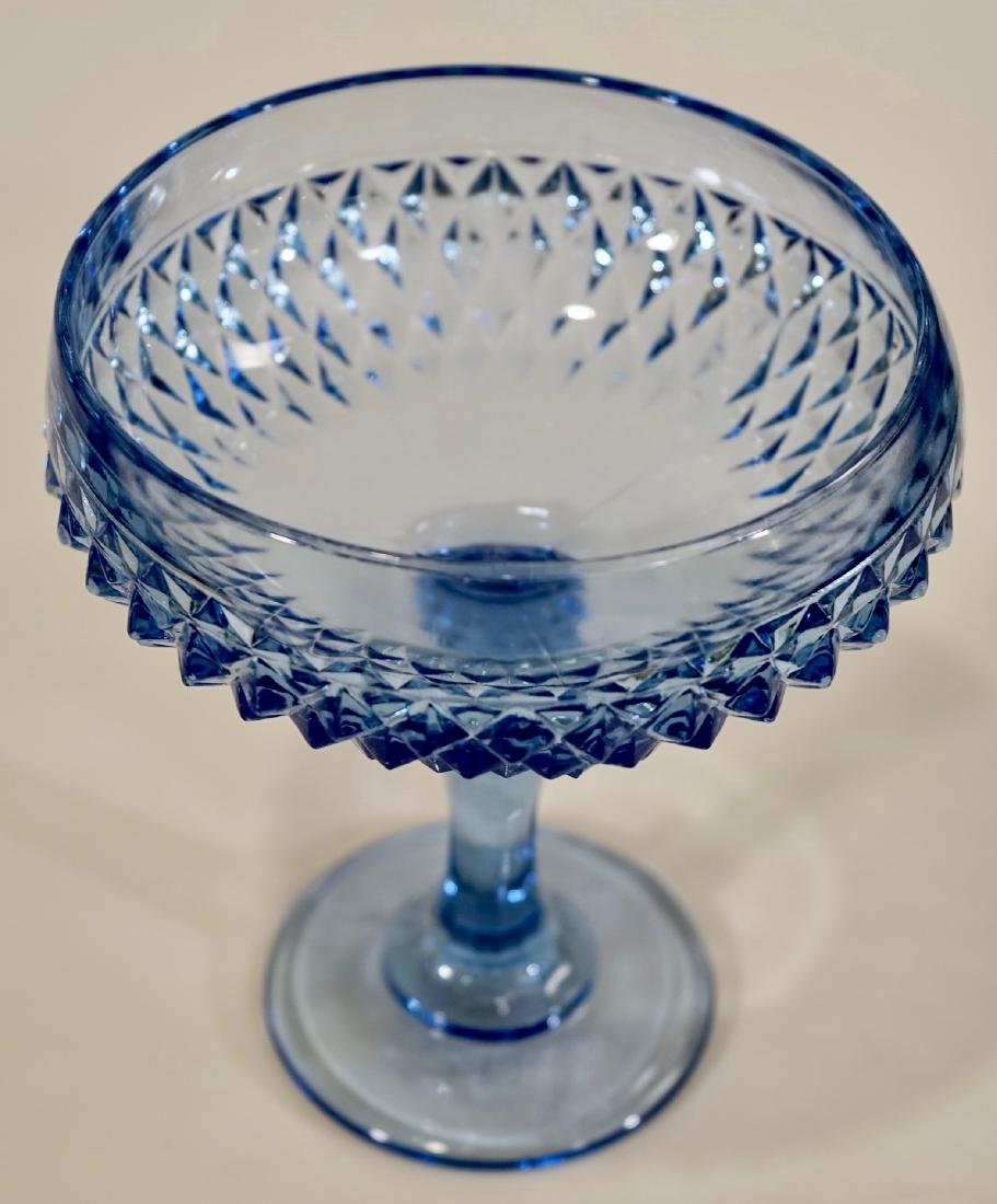 Vintage Blue Diamond Point Pattern Compote Indiana - 2