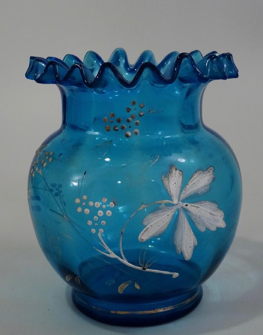 Antique Enamel Painted Crimped Blue Art Glass Vase