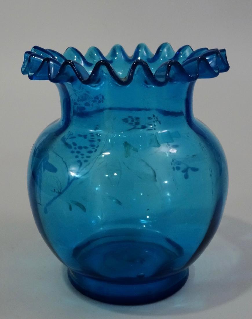 Antique Enamel Painted Crimped Blue Art Glass Vase - 2