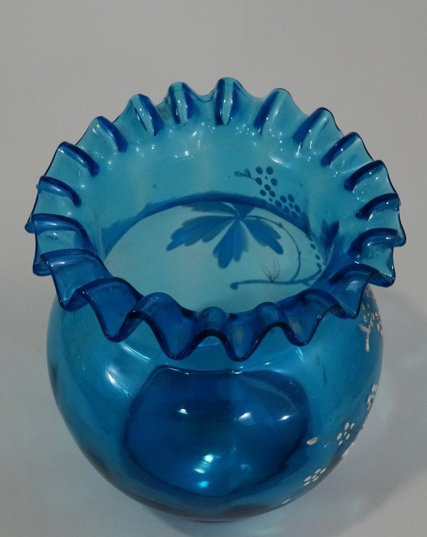 Antique Enamel Painted Crimped Blue Art Glass Vase - 3