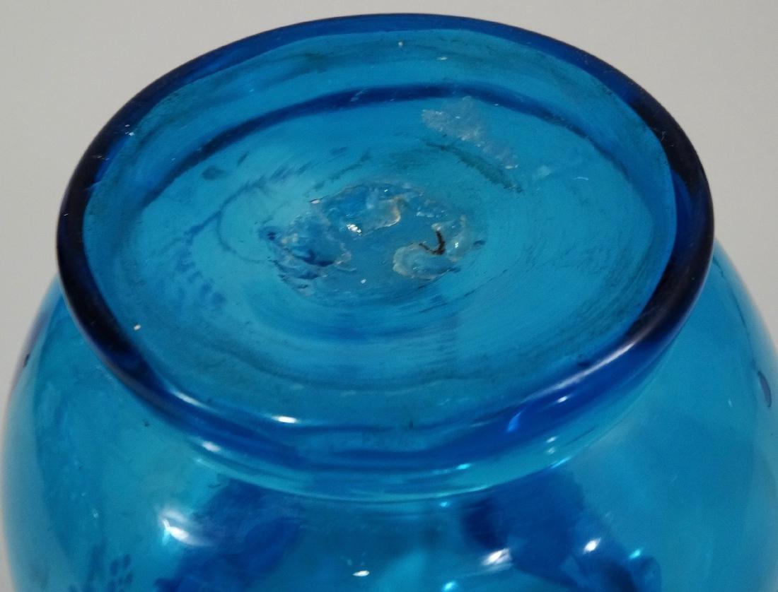 Antique Enamel Painted Crimped Blue Art Glass Vase - 6