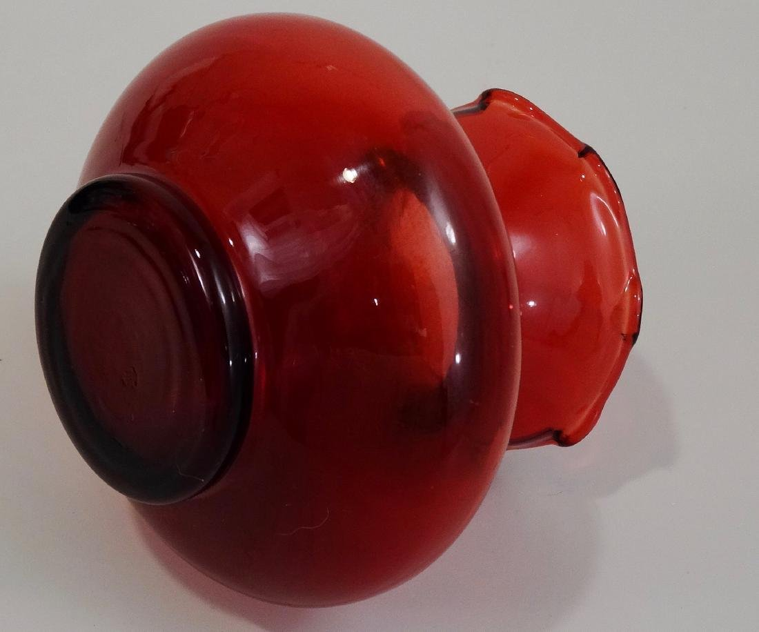 Ruby Red Glass Cabinet Flared Bud Vase - 5