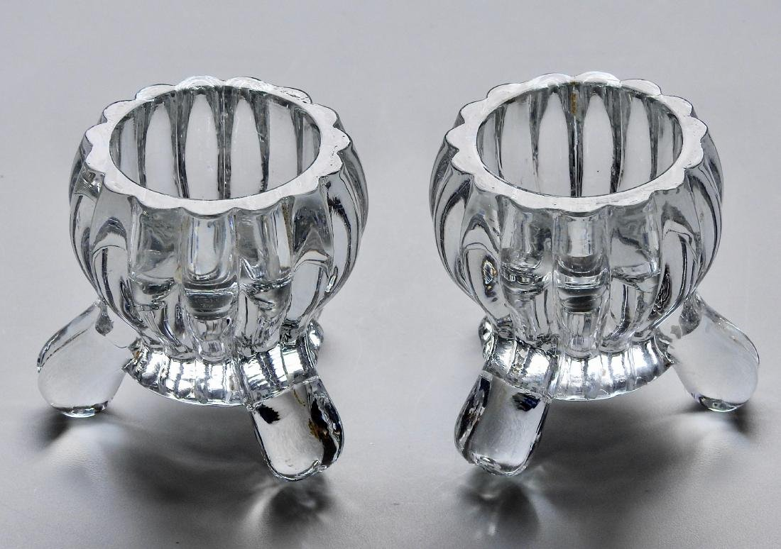 Art Deco Pressed Glass Cauldron Candle Holders Pair