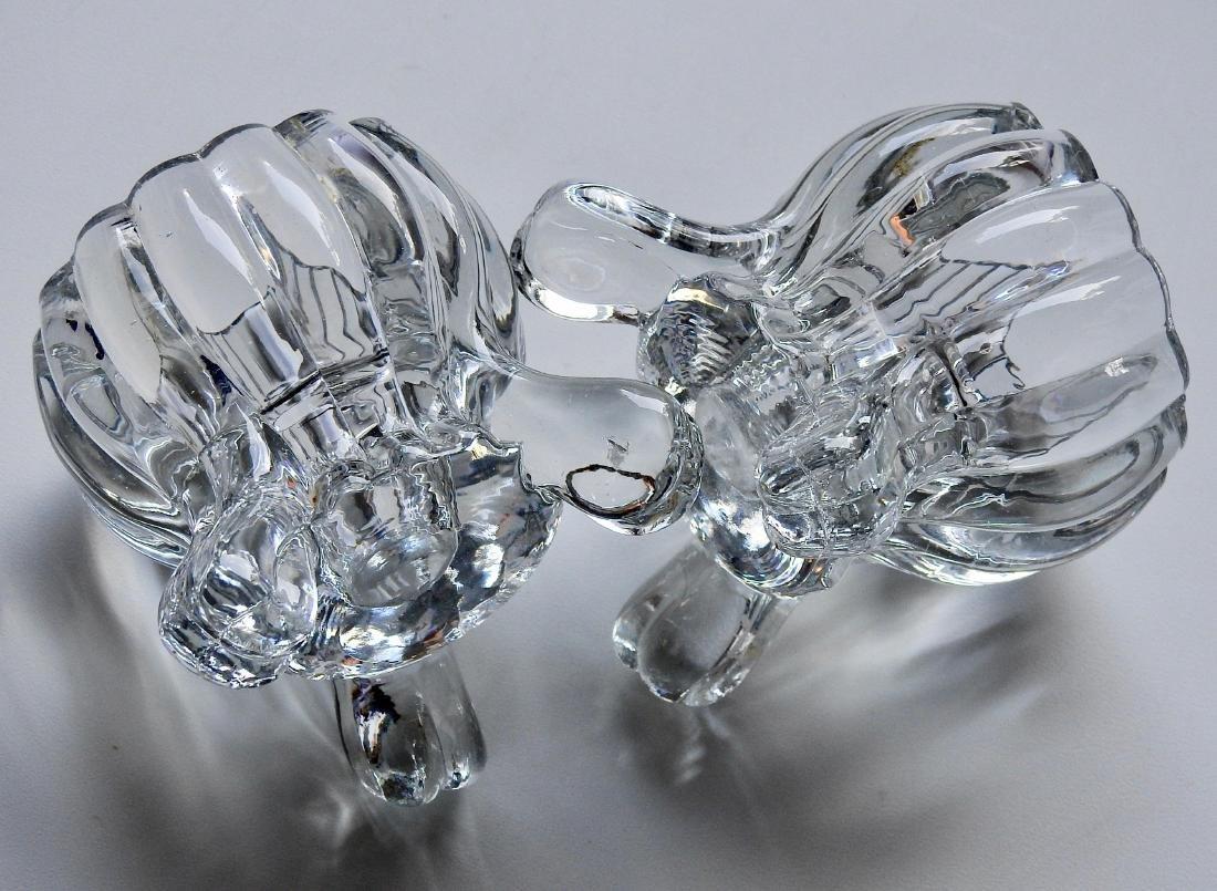Art Deco Pressed Glass Cauldron Candle Holders Pair - 3