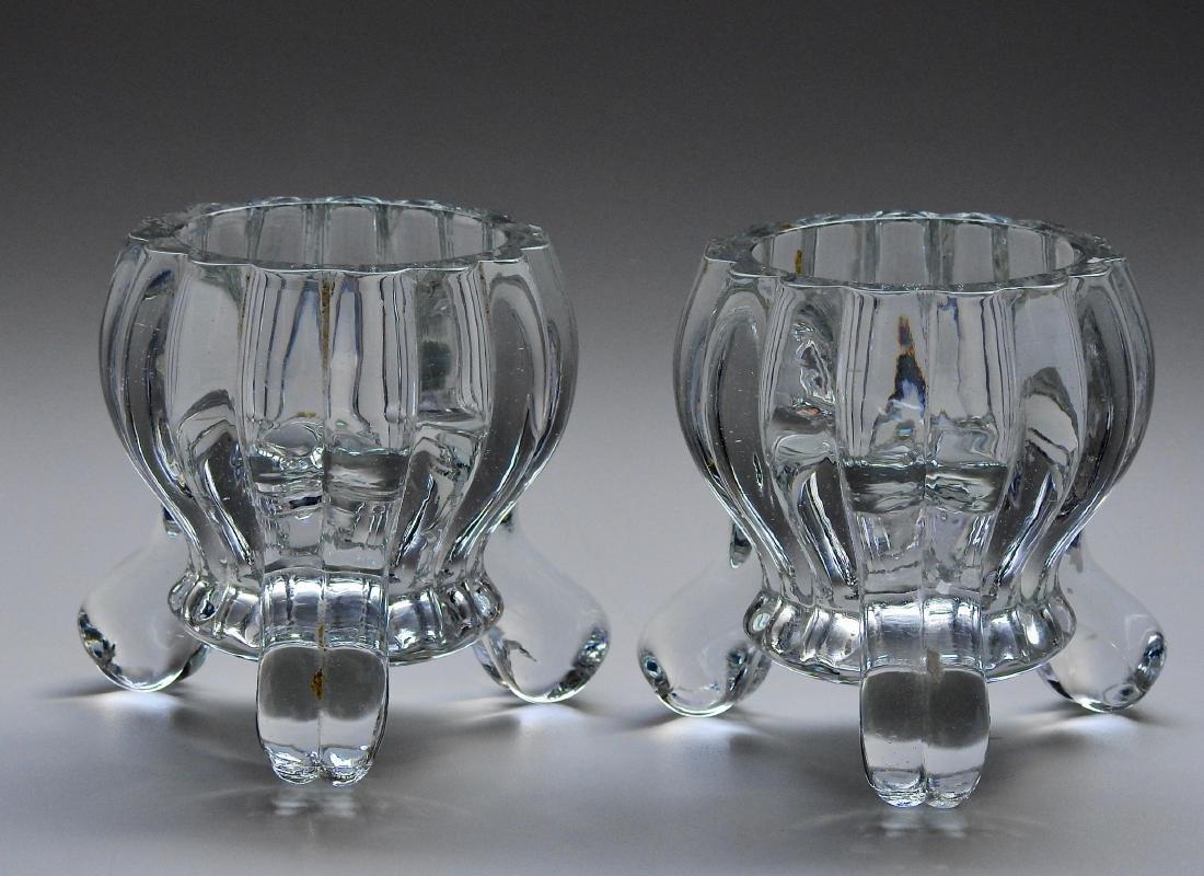 Art Deco Pressed Glass Cauldron Candle Holders Pair - 4