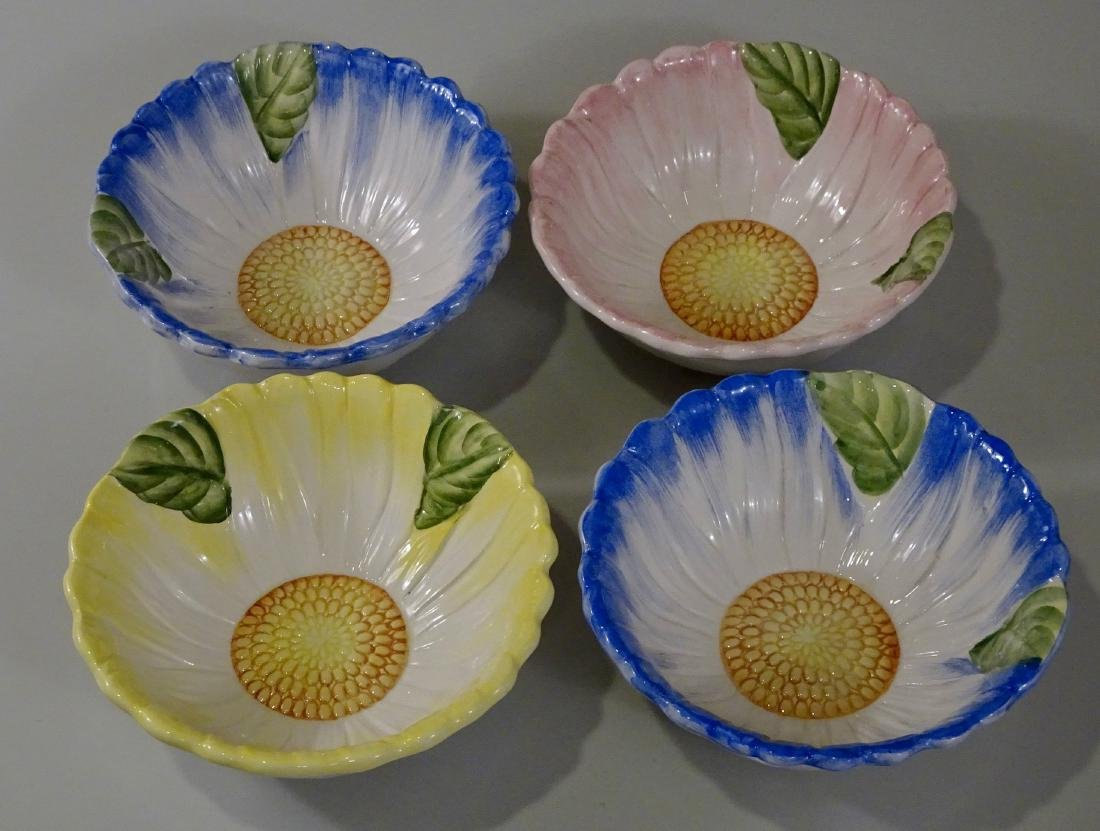 Italian Hand Painted Flower Cereal Bowls Set of 4