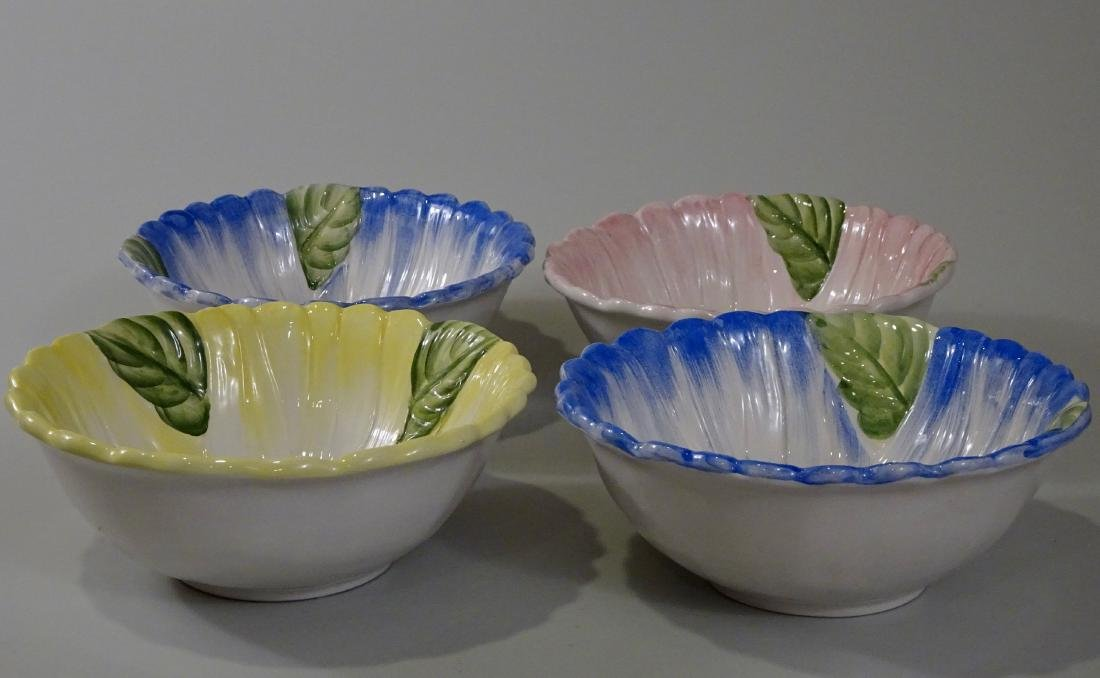 Italian Hand Painted Flower Cereal Bowls Set of 4 - 2