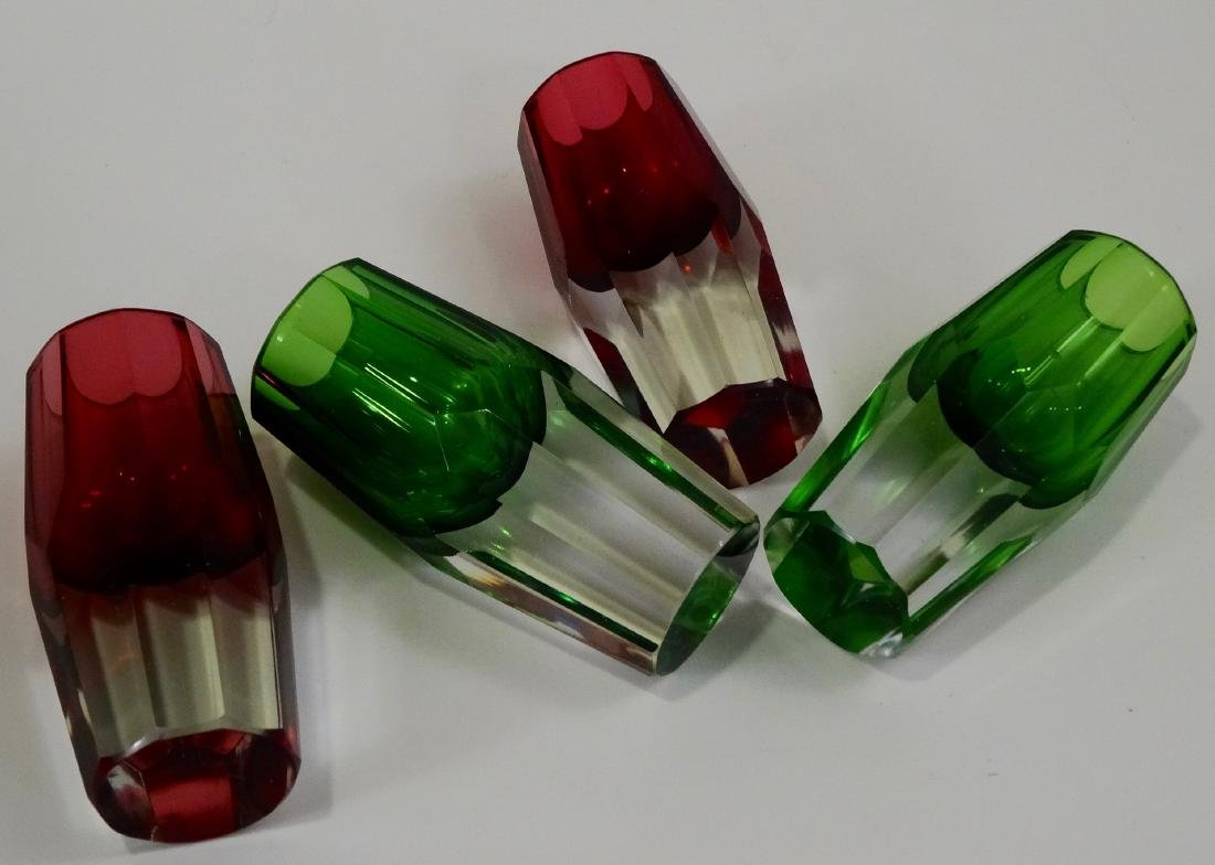 Green Ruby Crystal Shot Glasses Heavy Faceted Cut Base