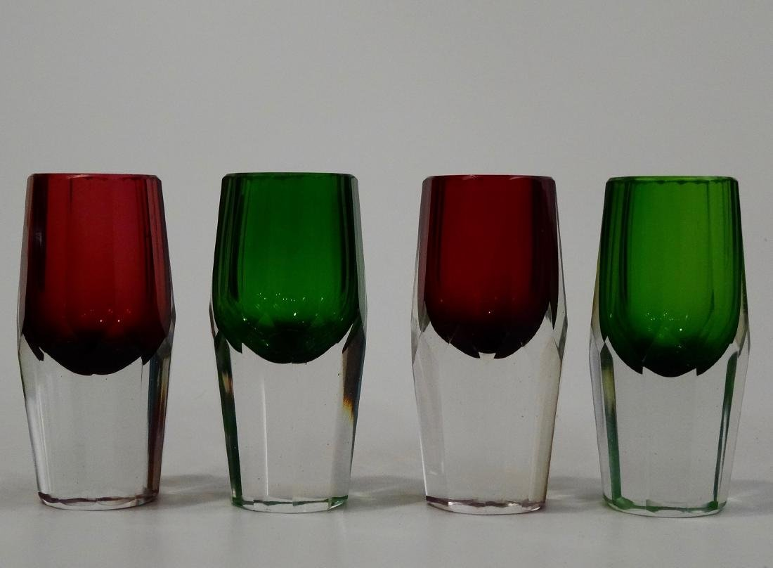 Green Ruby Crystal Shot Glasses Heavy Faceted Cut Base - 2