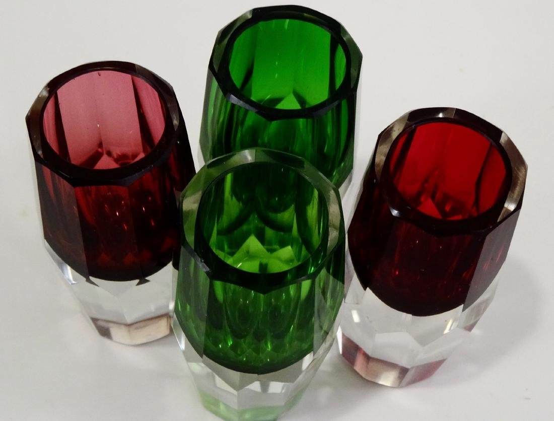 Green Ruby Crystal Shot Glasses Heavy Faceted Cut Base - 6