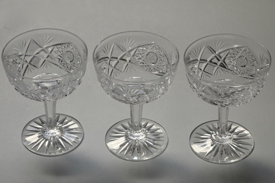 Antique ABP Cut Glass Champagne Coupe Stemware Lot of 3