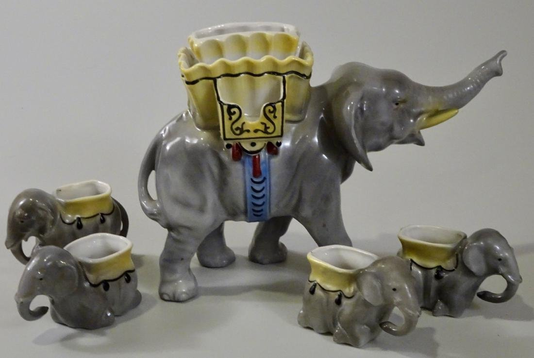 Vintage German Elephant Cigarette Stand Ashtray Set - 2