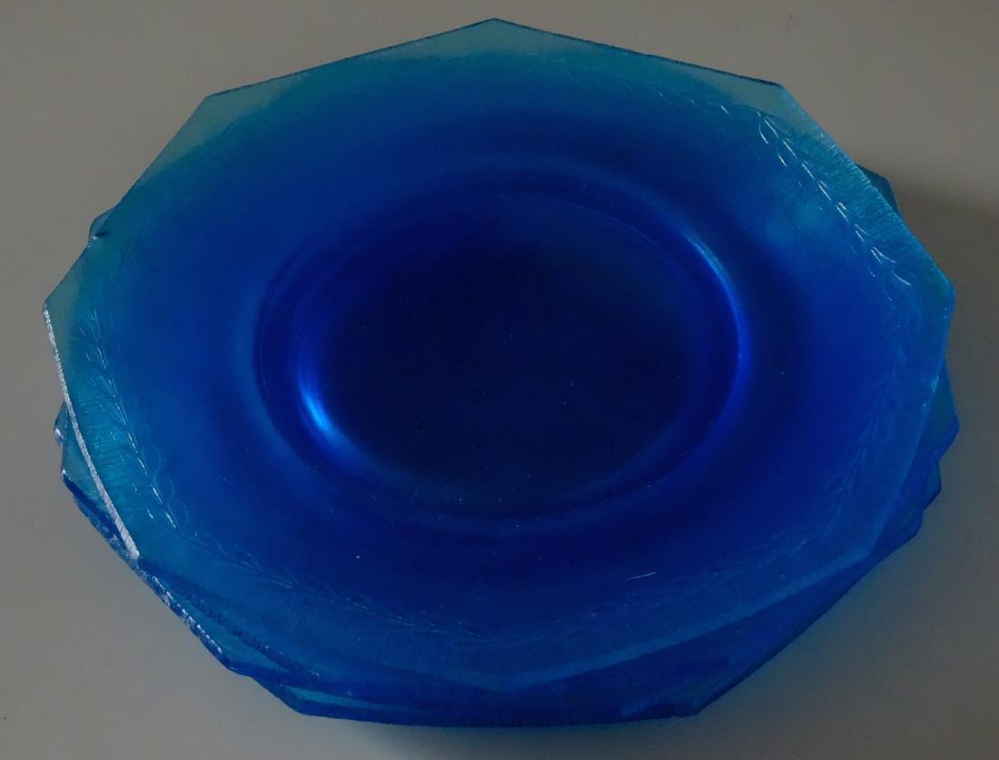 Vintage Art Deco Blue Iridescent Glass Octagon Plate