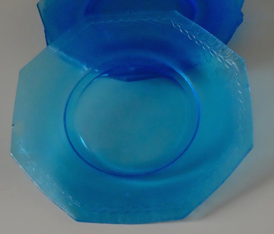 Vintage Art Deco Blue Iridescent Glass Octagon Plate - 2