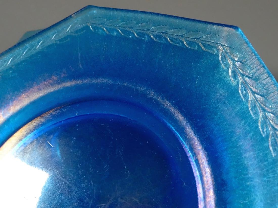 Vintage Art Deco Blue Iridescent Glass Octagon Plate - 3