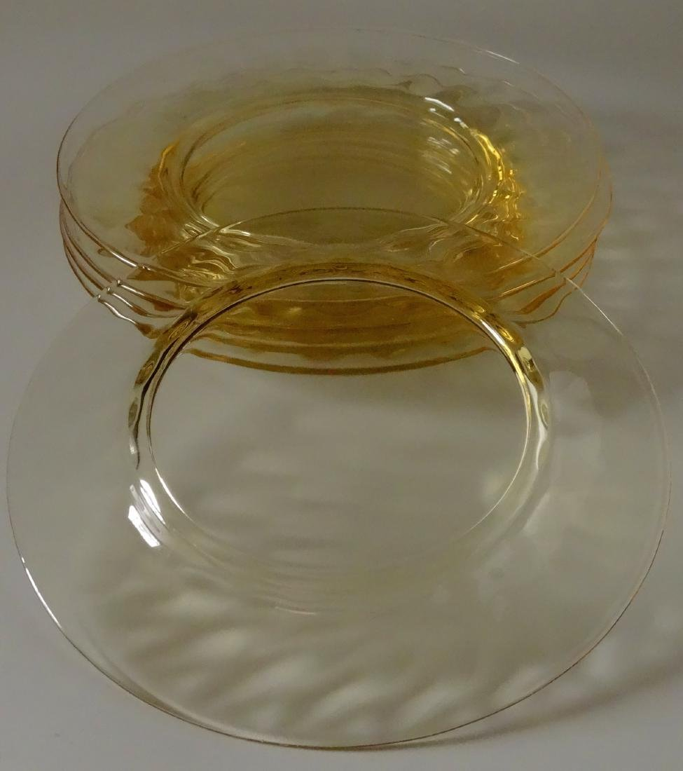 Vintage Yellow Depression Glass Salad Plate Lot of 5 - 5