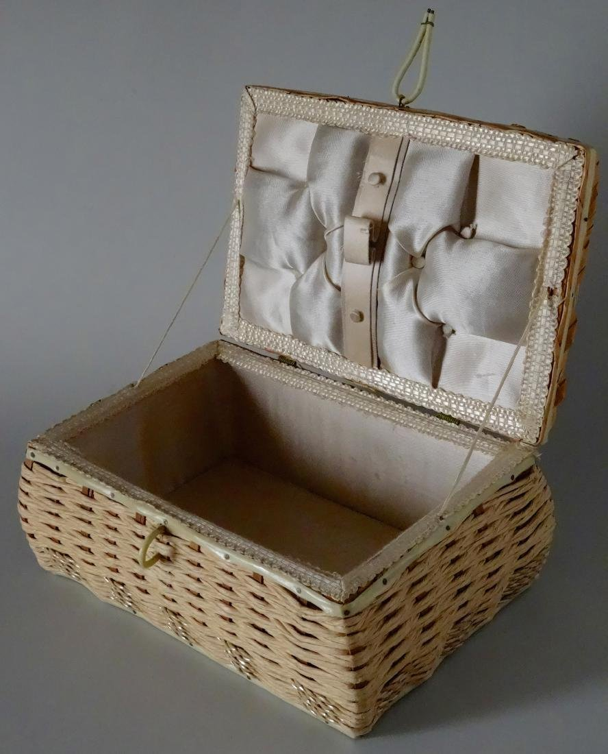 Vintage 40s Basket Sewing Box Made in Japan