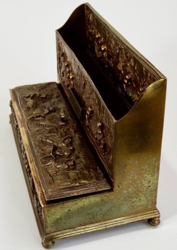 Vintage Pressed Brass Inkwell Letter Rack Desktop Paper - 6