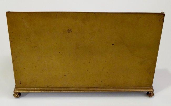 Vintage Pressed Brass Inkwell Letter Rack Desktop Paper - 7