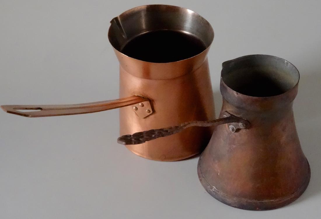 Copper Toorka Turkish Ibrik Coffee Pot Lot of 2 - 2