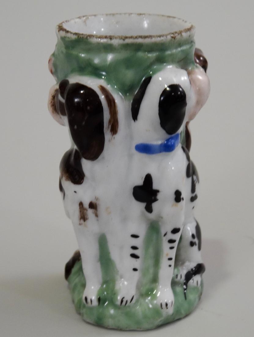 Antique Staffordshire Style Porcelain Vesta Dog Match - 3