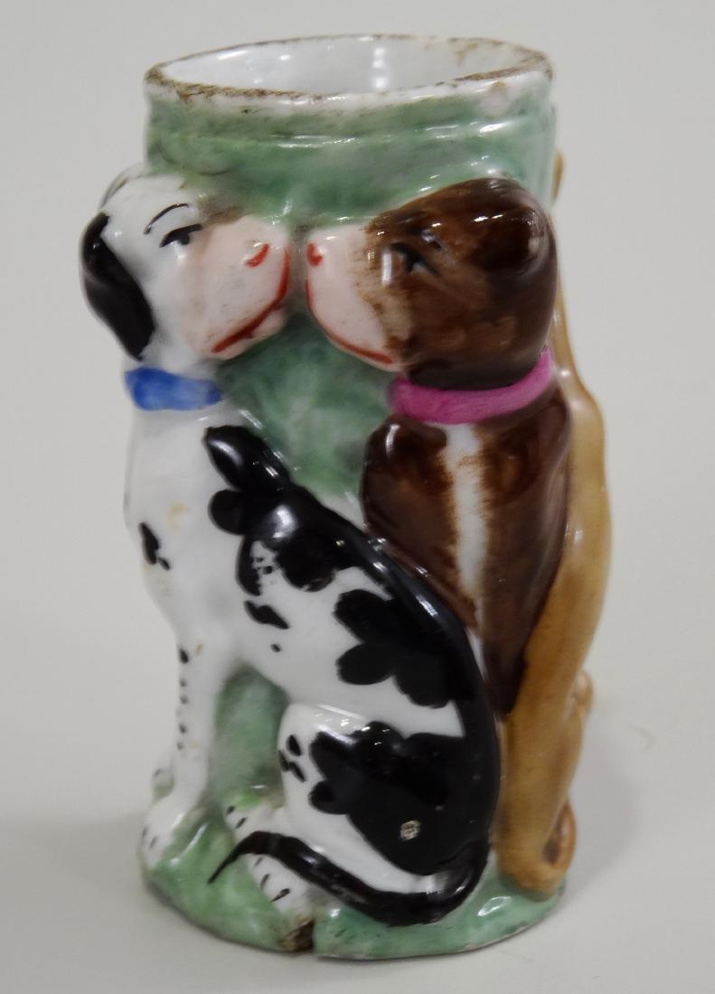 Antique Staffordshire Style Porcelain Vesta Dog Match - 4