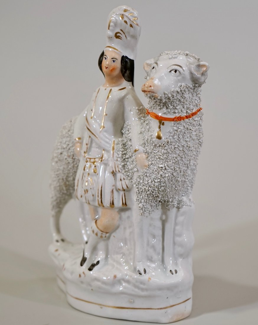 Large Antique Staffordshire Sheep Highlander Figurine
