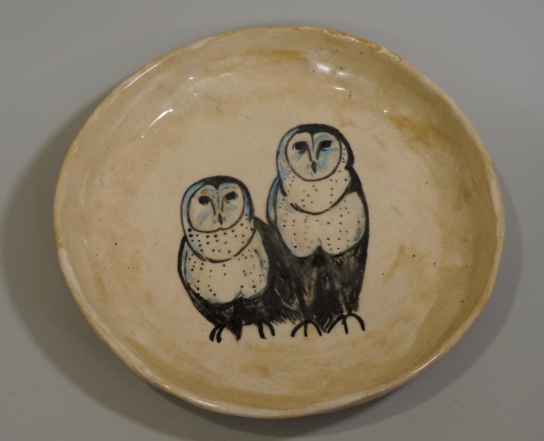 Owl Pottery Bowl Mid Century Modern Studio Ceramic Hand