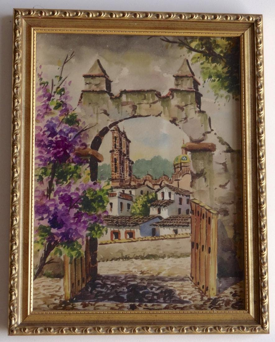 Antique Framed Mexico Watercolor Architectura