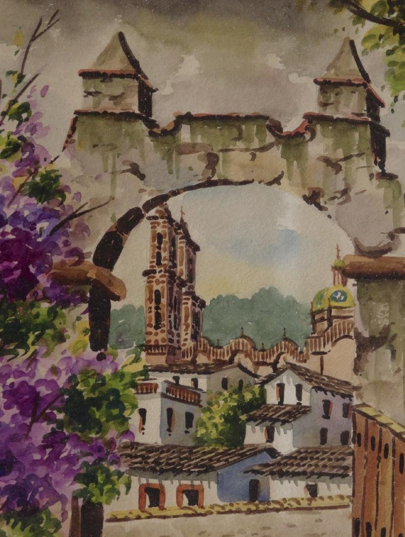 Antique Framed Mexico Watercolor Architectura - 2