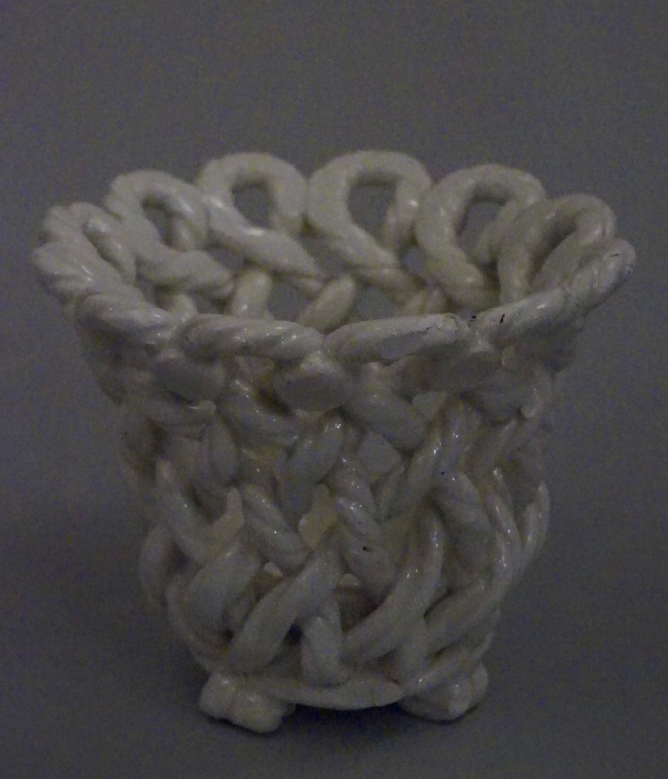 Blanc de Chine Pottery Basket Weave Vase Made in Spain - 2