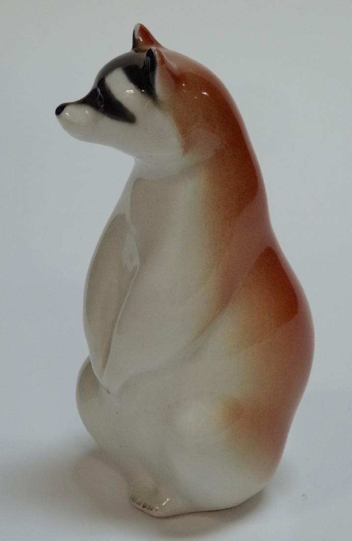 Raccoon Vintage Russian USSR Porcelain Factory Figurine - 2