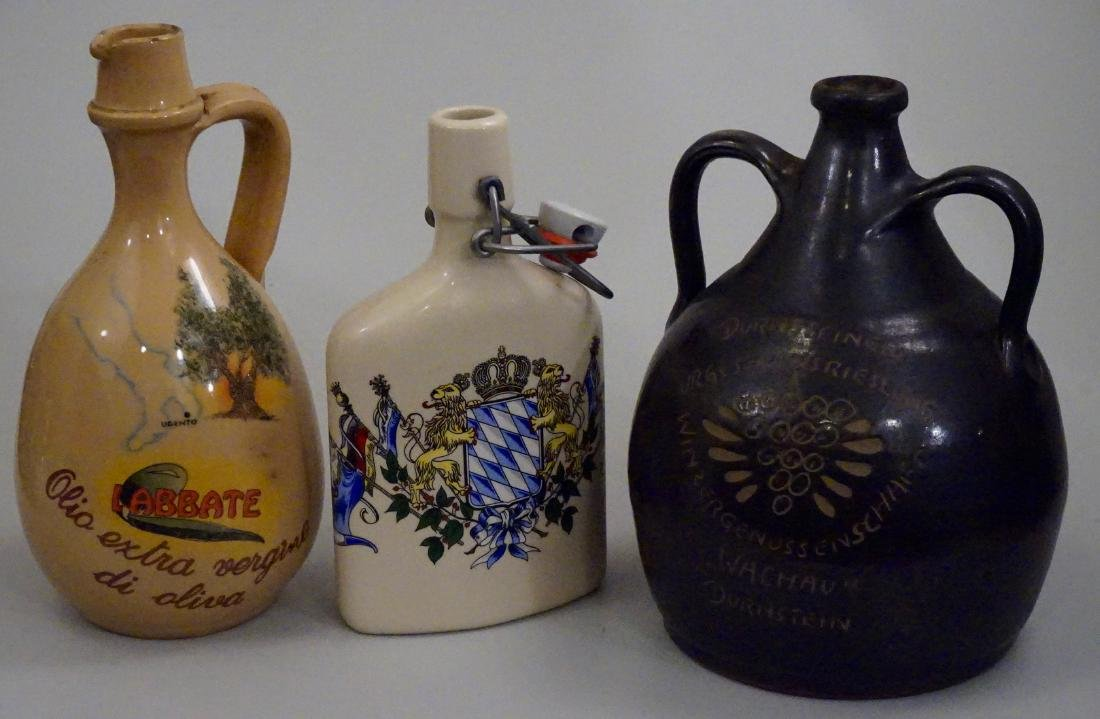 Vintage Pottery Flasks Jugs Bottles Lot of 3