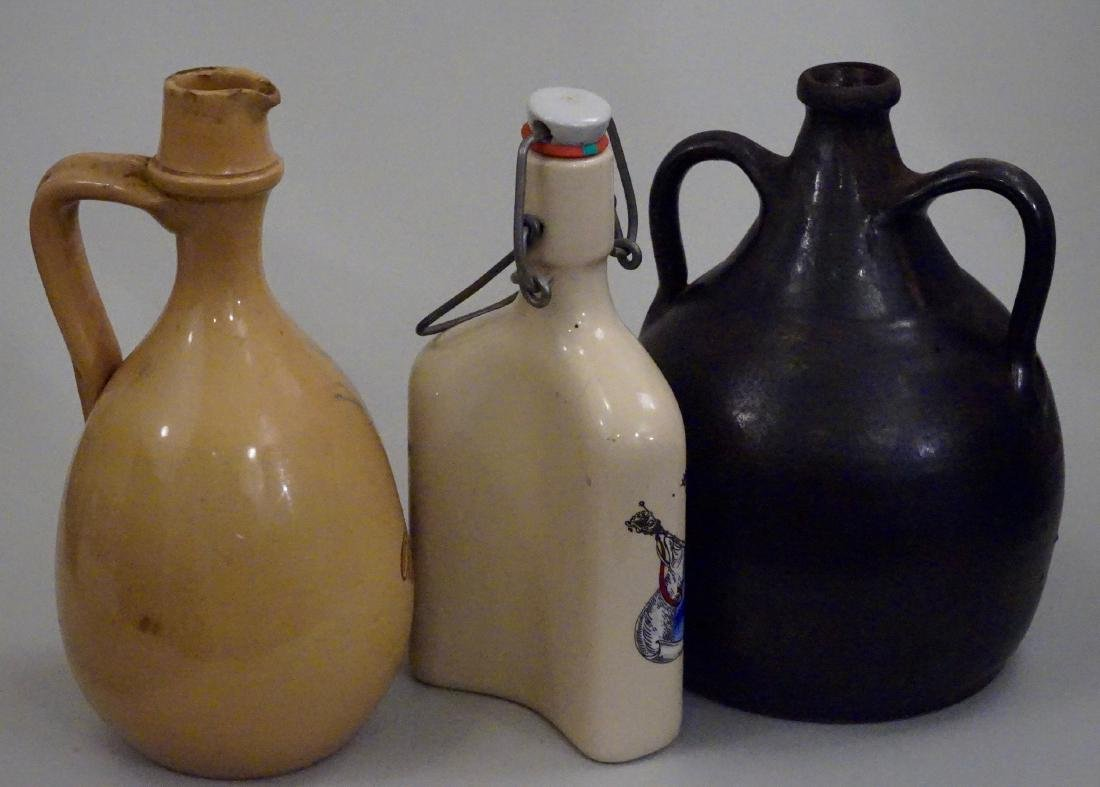 Vintage Pottery Flasks Jugs Bottles Lot of 3 - 3