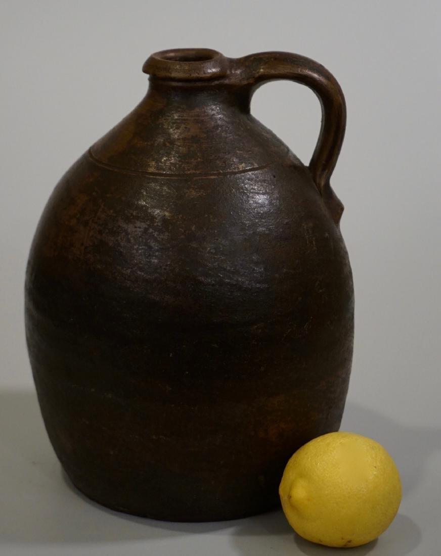 Brown Salt Glazed Antique Ceramic Ovoid Jug Stoneware