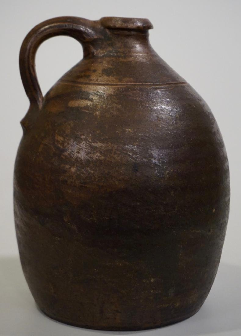 Brown Salt Glazed Antique Ceramic Ovoid Jug Stoneware - 4