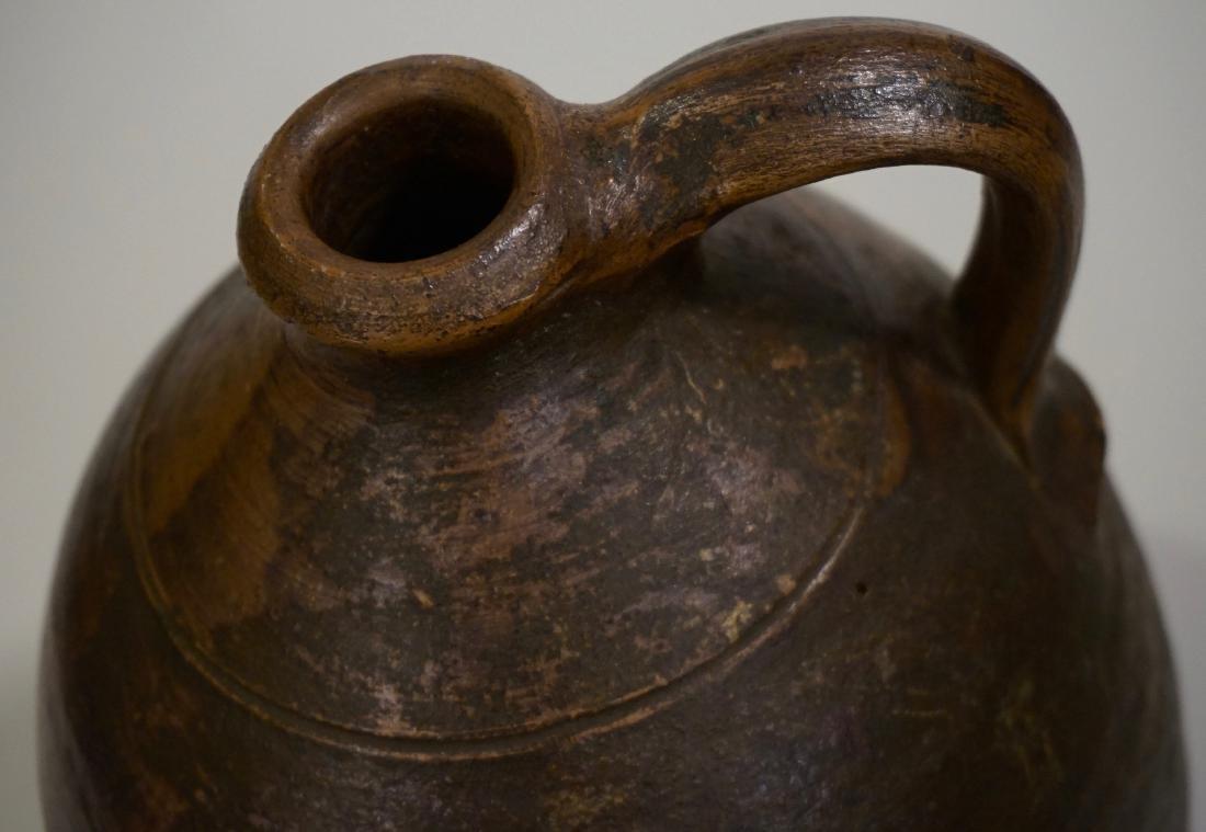 Brown Salt Glazed Antique Ceramic Ovoid Jug Stoneware - 5
